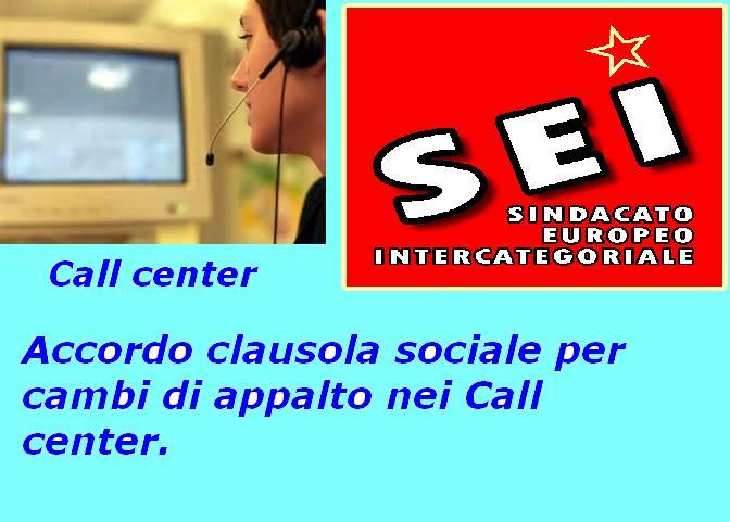 clausola sociale call center  (SEI maggio 2016)